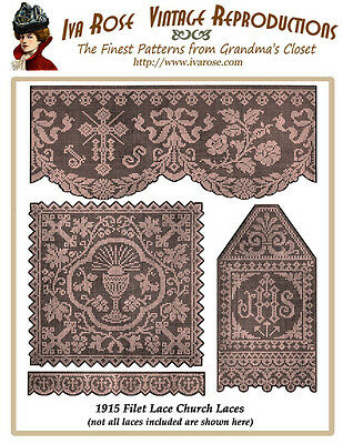 1915 Filet Lace Chart Pack of Christian Church Laces