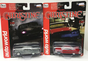 AUTO-WORLD-1-64-2020-HOBBY-EXCLUSIVE-CHRISTINE-SET-OF-2-AFTER-FIRE-amp-PART-RESTOR