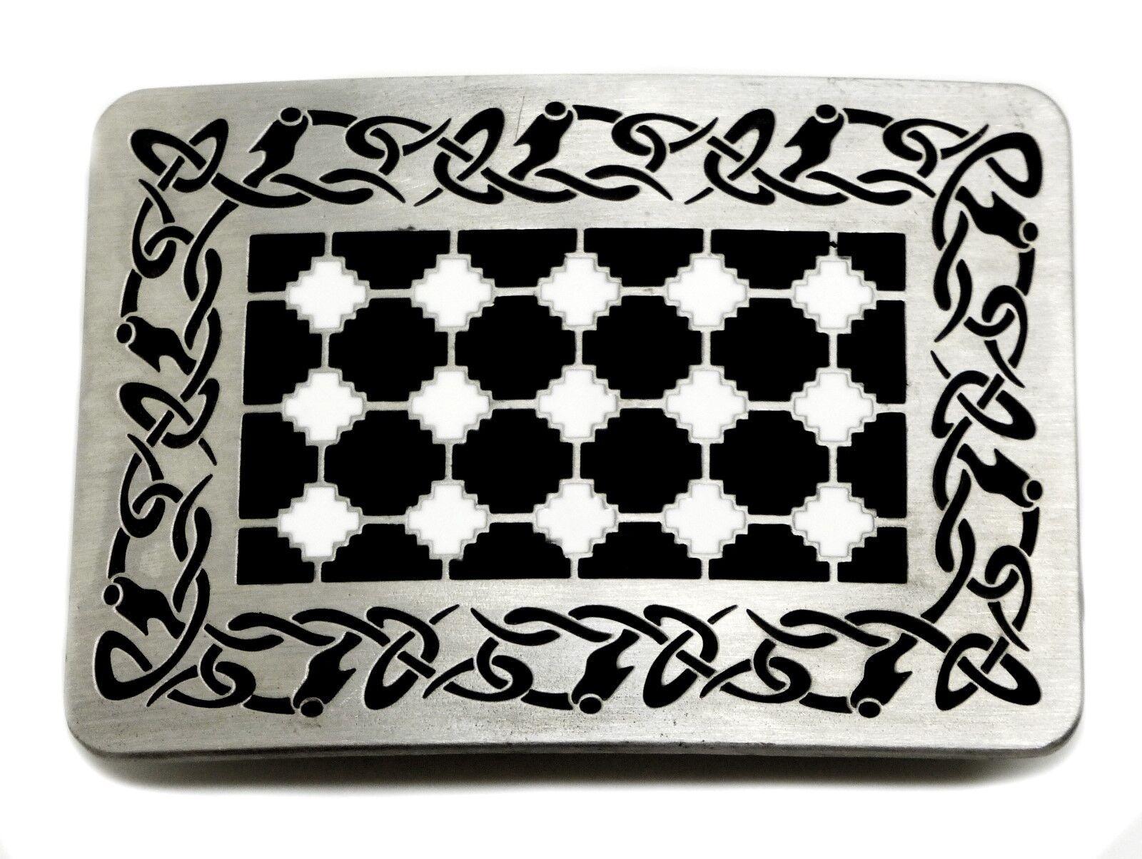 Celtic Knot Belt Buckle Black & White Oblong Design Authentic Dragon Designs
