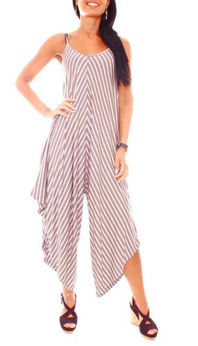 Damen Jersey Hosenkleid Overall Jumpsuit Strandoverall asymetrisch Gestreift