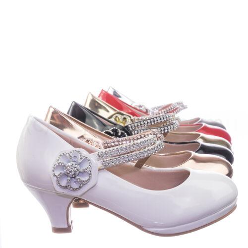 Dana18K Children Girl High Heel Dress Pump w Rhinestone Crystal Rose Mary Jane