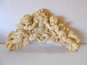 Cherubs /& Flowers Hanging Decorative Wall Plaques Large Gold Color