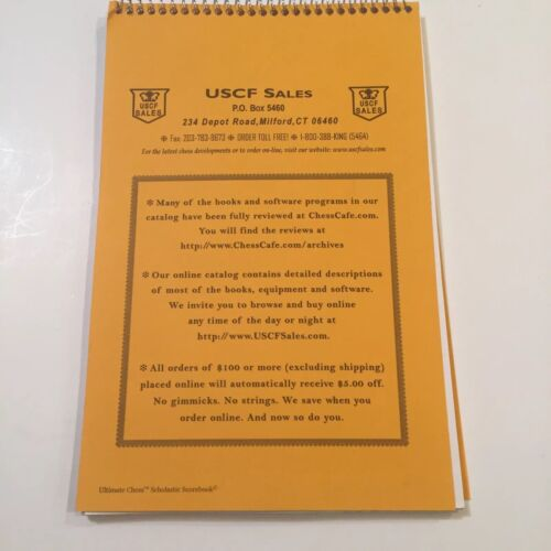 USCF Ultimate Chess Scholastic Scorebook Fifty Games Sixty Moves Spiral NEW