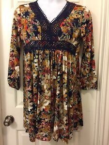 Southern-Stitch-Womens-Dress-1X-3X-Plus-Floral-Crochet-BOHO-Peasant-Navy-Rust