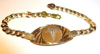 WOMAN SIZE SUN RAY MEDICAL MEDIC 10K GOLD  BRACELET FIGARO FREE ENGRAVING ALERT