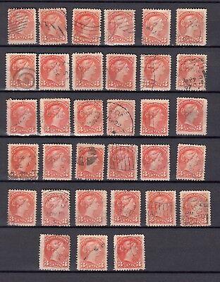 Canada 1870-1897 Victoria / 3 Cents 33 X Perf. 12 Used / Nice Lot ! Non-Strijkservice