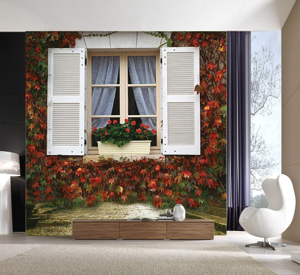 3D Maple Leaf Window Paper Wall Print Wall Decal Wall Deco Indoor Murals