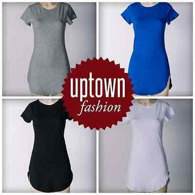 USA Women tops Short Sleeve Side Slit Casual Long Cotton T shirt Dress S,M,L