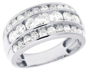 Lovely Men/'s 14K White Gold Over Diamond Three Row Wedding Band Ring 3 CT 11MM