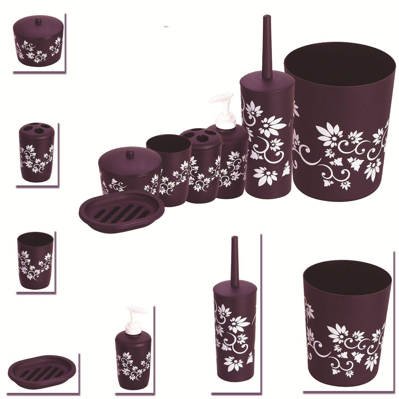 7PC Fleurs Violettes Accessoire Set Salle de Bain Plastique Brosse poubelle Brosse à dents titulaire