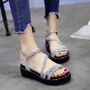 216dd80785 Image is loading Bling-Rhinestones-Summer-Platform-Roman-Shoes-Creepers- Sandals-