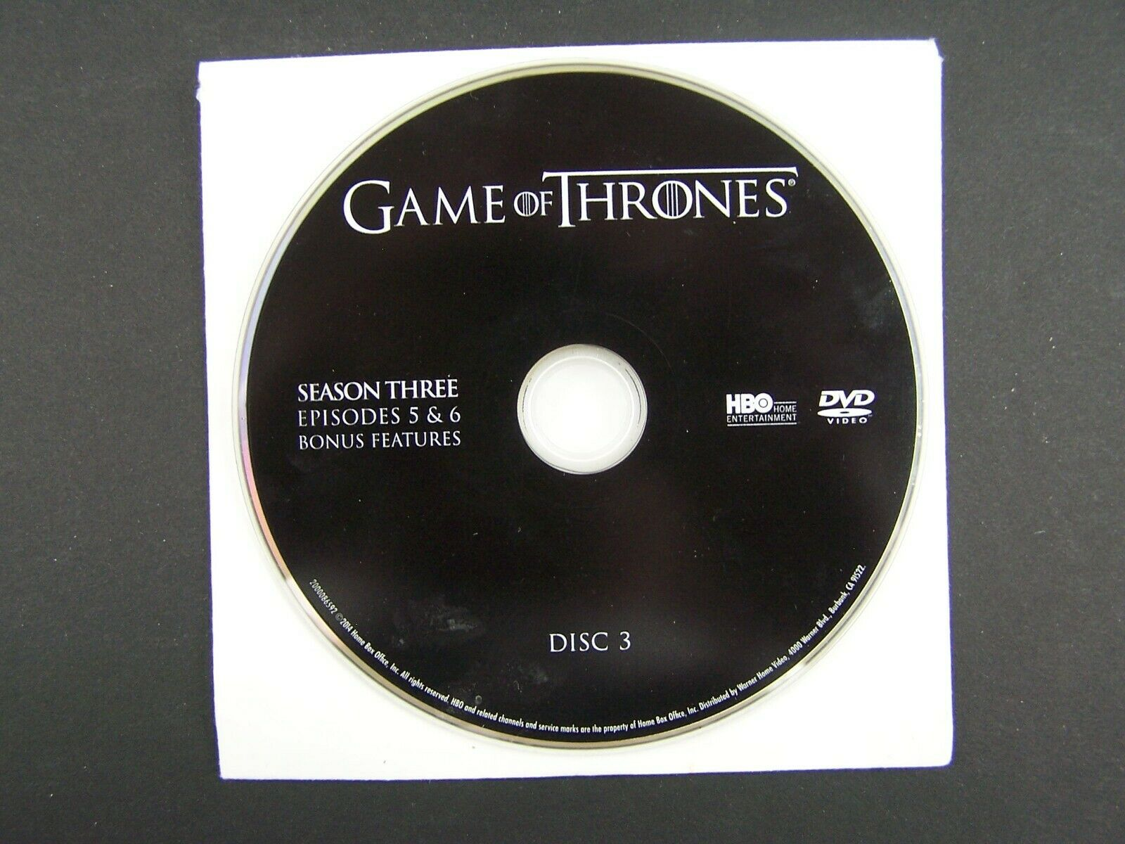 Game Of Thrones Season 3 Disc 3 Replacement DVD