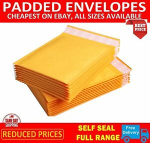 GOLD-PADDED-BUBBLE-ENVELOPES-BAGS-POSTAL-WRAP-ALL-SIZES-VARIOUS-QUANTITES
