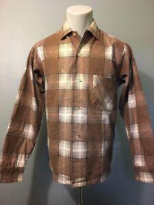 Vtg-50s-60s-NOS-Shadow-Plaid-Flannel-Rockabilly-Shirt-Mens-S-Cotton-Tan-Brown-LS