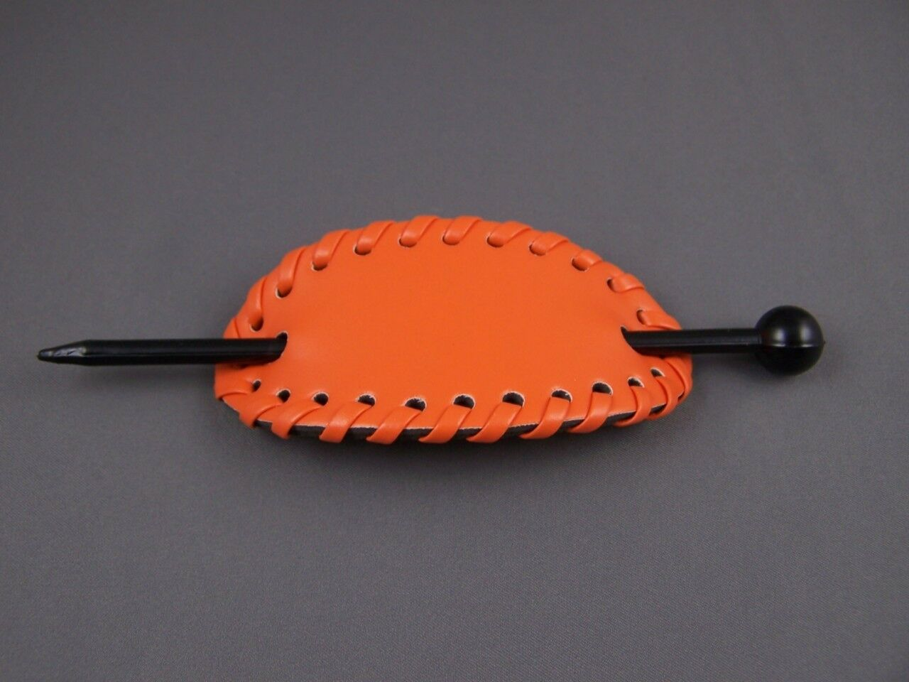 Orange stick barrette oval faux leather slide hair pin accesssory hairpin