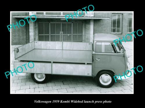 OLD 6 X 4 HISTORIC PHOTO OF 1959 VOLKSWAGEN KOMBI WIDEBED LAUNCH PRESS PHOTO