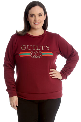 New Womens Plus Size Sweatshirt Ladies Guilty Print Long Top 2 Side Pockets Warm