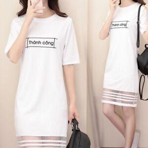 Korean-Women-Short-Sleeve-Casual-Loose-Letter-Print-Dress-Long-T-shirt