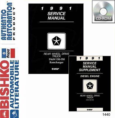 OEM Repair Maintenance Shop Manual CD Dodge Truck D//W 150-350 w//Diesel 1990