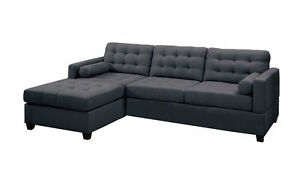 Image Is Loading Modern Charcoal Grey Black Fabric Sectional Sofa Couch
