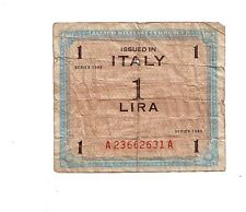 WWII Military MPC money for Italy 1 lire  WW2 1943