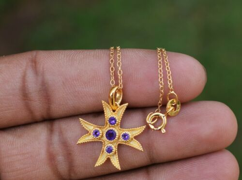 Details about  /Star Design Pendant 925 Fine Sterling Silver Pendant With Chain Necklace