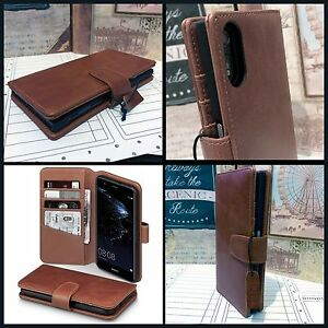 Real-Leather-Wallet-Book-Case-Functional-Card-Pocket-Tan-Huawei-P10-LITE-2018
