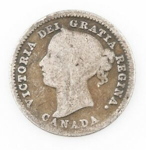 1885-Canada-10-Cents-Silver-Coin-VG-Victoria-10c-Ten-Canadian-KM-3