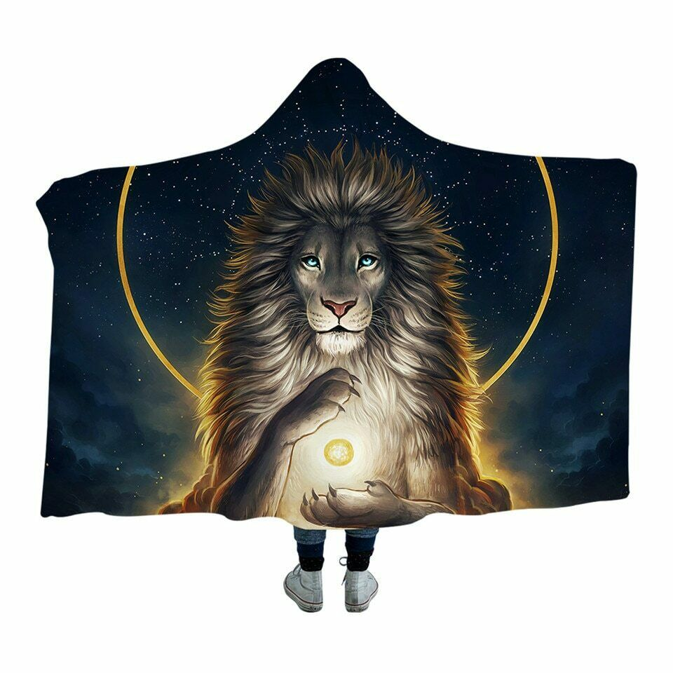 Soul Keeper Lion JoJoesArt Kids Adults Sherpa Fleece Fur Hooded Blanket Throw