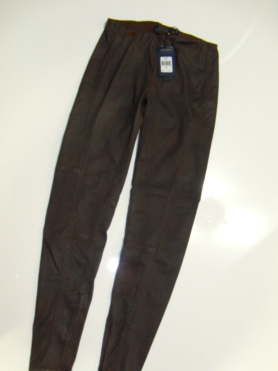 NWT  Womens Ralph Lauren Coated Faux Leather Distressed Leggings Pants 28