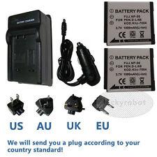 2X Battery + charger for Fuji NP-50A NP-50 X10 X20 XF1 F75 F665 F775 F900EXR