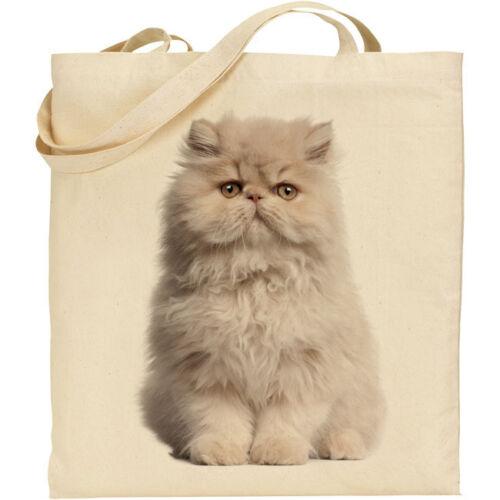 reusable CS Persian cat breed image cotton shopping//shoulder//beach//tote bag