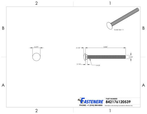 """1//4-20 X 3/"""" Carriage Bolts Stainless Steel 18-8 Round Head Qty 10"""