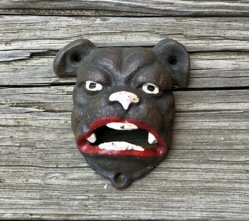 Cast Iron Bulldog Dog Face Wall-Mount Beer Bottle Opener