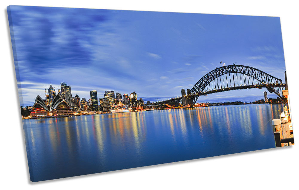 Sydney Harbour Bridge Blau Framed PANORAMIC CANVAS Drucken Wand Kunst