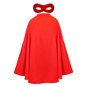 RED CAPE AND MASK ADULTS SUPERHERO FANCY DRESS COSTUME UNISEX FILM HERO SET