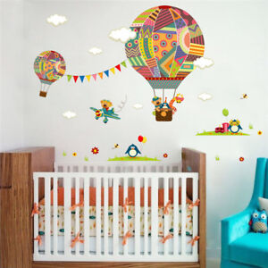 Details about Hot Air Colorful Balloon Wall Stickers Childrens Baby Bedroom  Decorations Decals