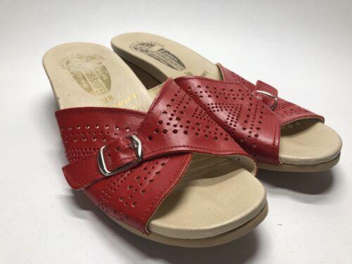 Worishofer Footprint West Germany Slip On Red Leat