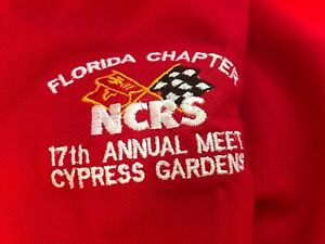 Vintage NCRS Florida Chapter Corvette Polo Shirt 17th Annual Cypress Gardens XL