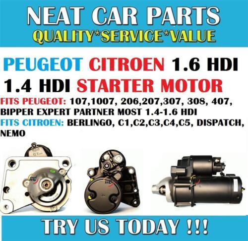 PEUGEOT STARTER MOTOR 107 1007 206 207 307 308 407 EXPERT 1.4 HDI 1.6 HDI NEW