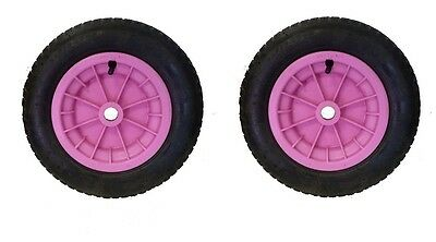 """PACK OF 2 BLUE 14/"""" WHEELBARROW WHEELS 3.50-4.00-8 REPLACEMENT INFLATABLE TYRE"""