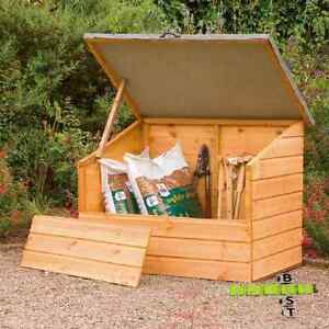 wooden garden storage chest box log store shed outdoor tools container cabinet ebay. Black Bedroom Furniture Sets. Home Design Ideas