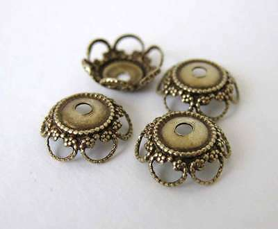Antiqued Brass Ox Flower Bead Cap Heart Filigree Vintage Style 10mm