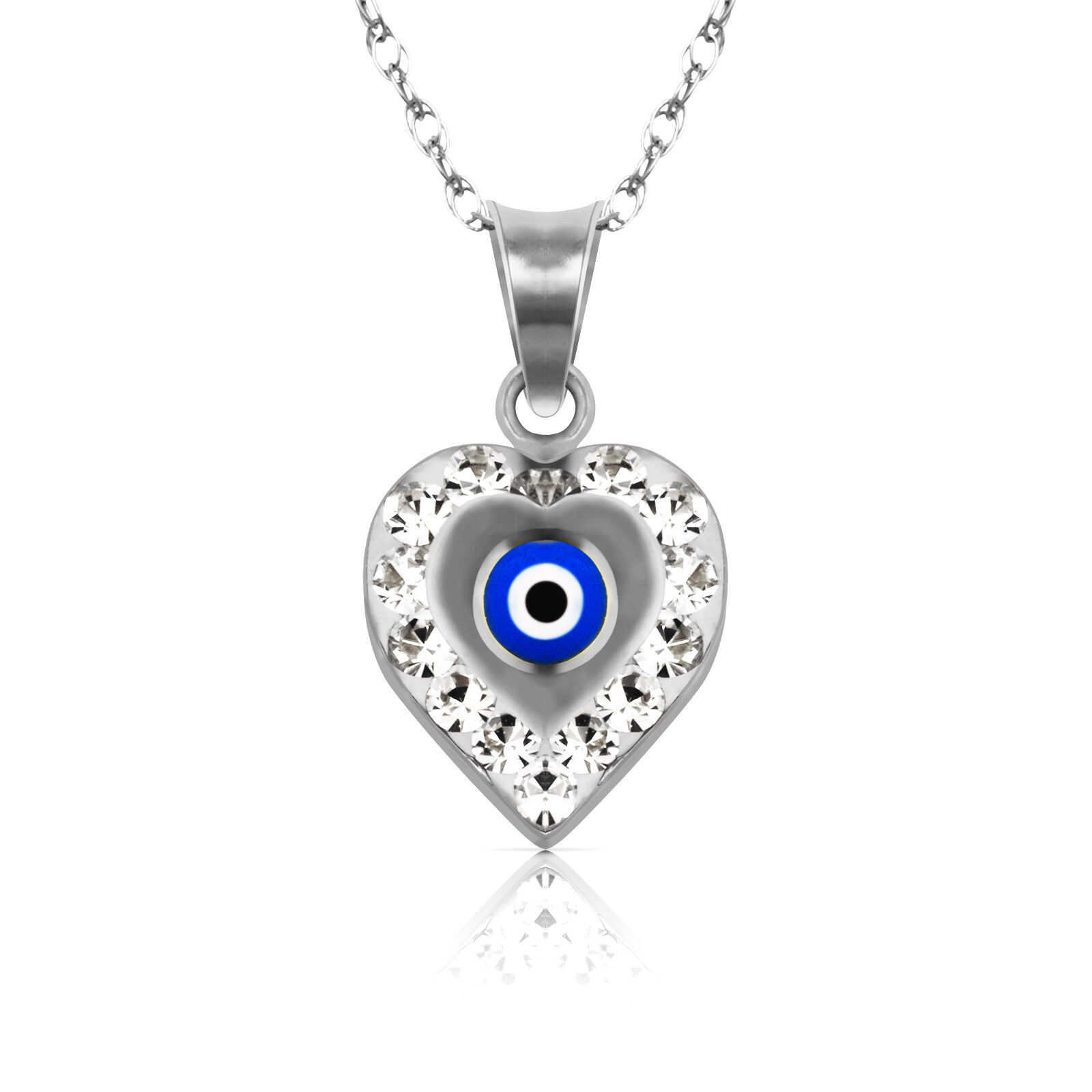 14k White gold Heart Shape Evil Eye Cubic Zircon Pendant