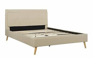 efc3a2587e3c9 Image is loading Full-Size-Mid-Century-Modern-Upholstered-Bed-Frame-