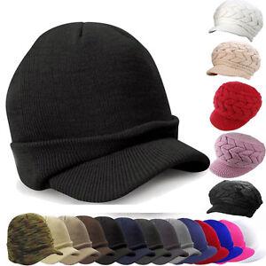Plain Beanie Visor Knitted Skull Cap Hat Colors Wamer Winter Ski Snow Headwear
