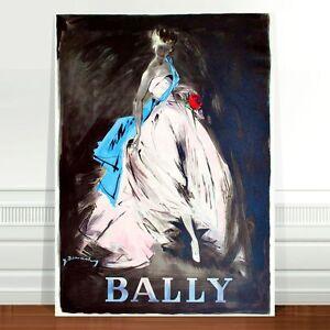 "Stunning Vintage Bally Fashion Poster Art ~ CANVAS PRINT 24x18"" White Dress"