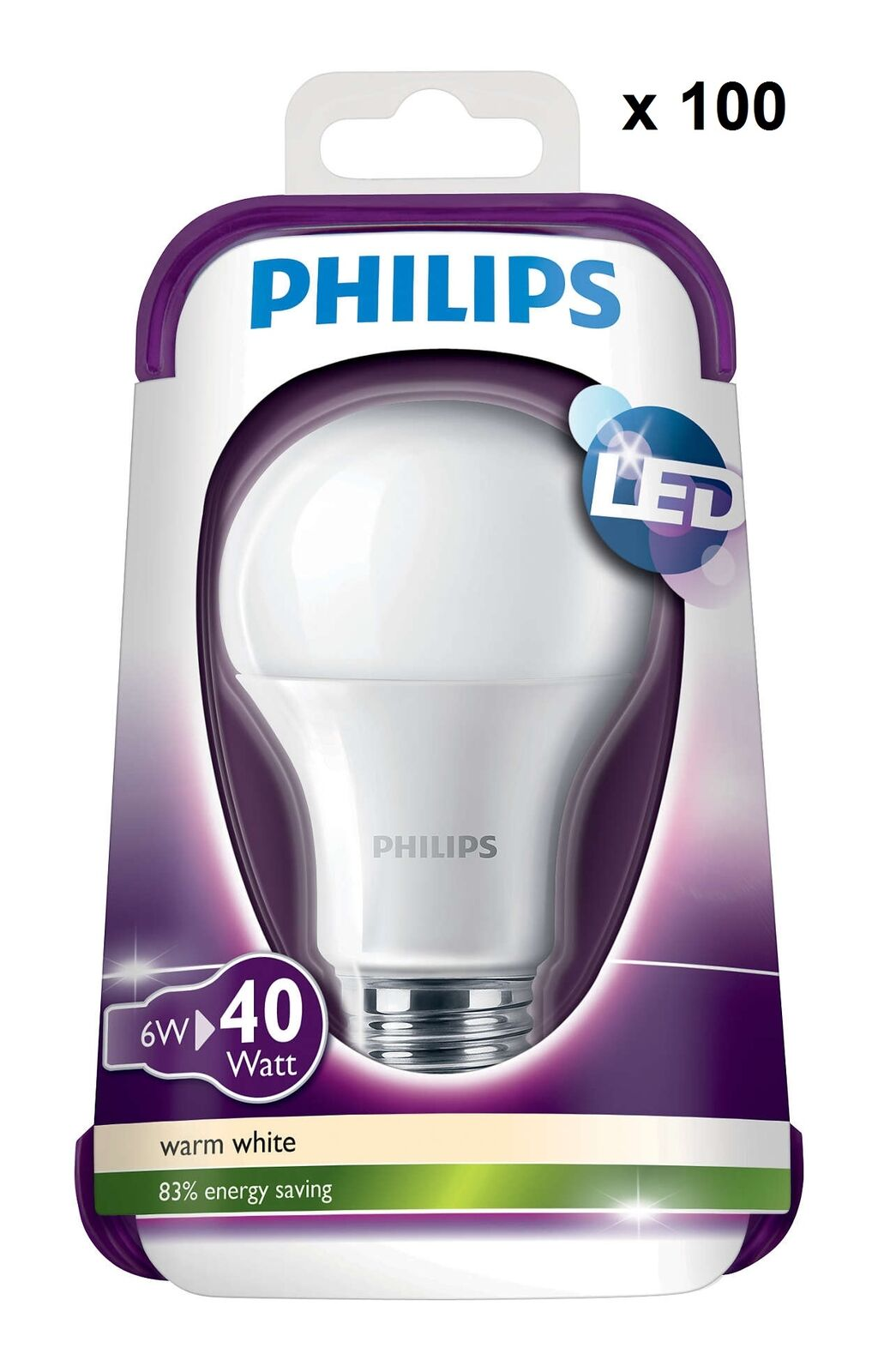 100x Philips Edison Screw Cap Frosted E27 6W LED GLS House Light Bulb Lamp 470lm