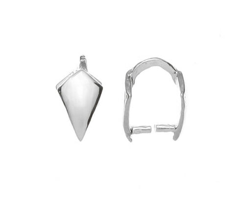 Sterling silver 925 small prong pinch bail pendant 6x4 mm w22 2 pieces