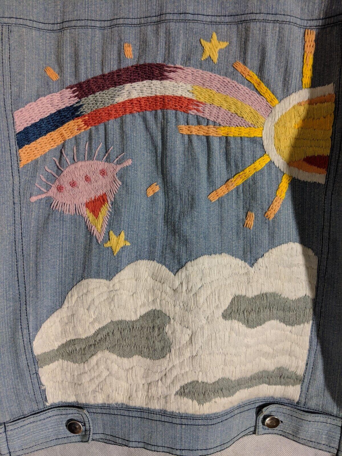Romance Was Born Rainbow Denim Embroidered Jacket… - image 4